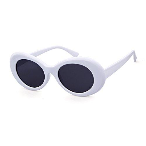 QIFANDI UV400 Clout Goggles Bold Retro Oval Mod Thick Frame Sunglasses (White Frame&Black Lens)
