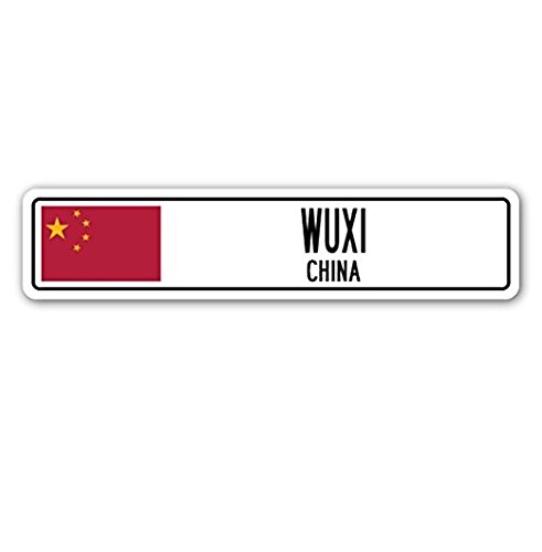 Wuxi  China Street Sign Asian Chinese Flag City Country Road Wall Gift   Sticker Graphic   Auto  Wall  Laptop  Cell Sticker