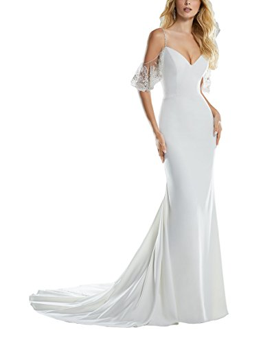 Nicefashion Women's 2019 Chic Beading Straps Empire Mermaid Destination Wedding Dress for Bride Ivory US6