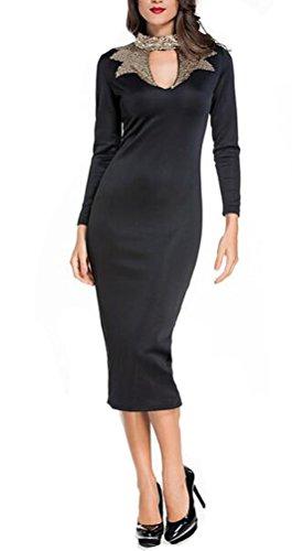sunifsnow mujeres otoño negro oro lentejuelas cuello Hollow Out por la rodilla Midi vestido de fiesta negro