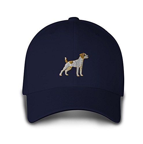 Jack Russell Terrier Embroidery Adjustable Structured Baseball Hat Navy