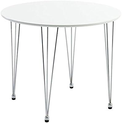 Mesa de comedor Ballerup JYSK D90cm blanco/cromado: Amazon.es: Hogar