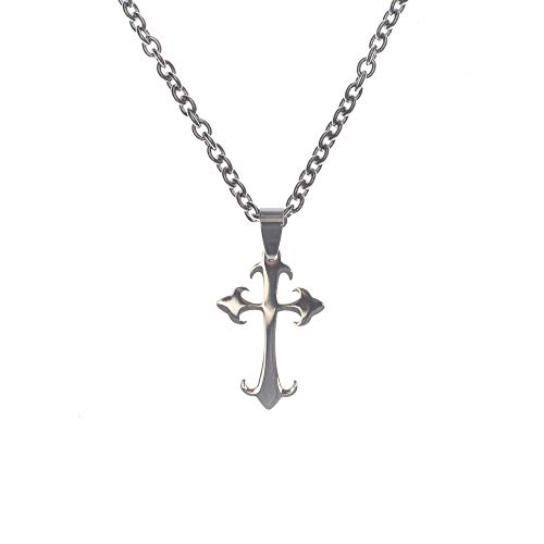 Cross Budded Tone (Dicksons Silver-Tone Large Budded Cross Stainless Steel 24-Inch Pendant Necklace)