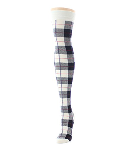 1ea92a2c088 MeMoi Famous Tartan Plaid Over The Knee Warm Socks Winter White MF5 872 One  Size