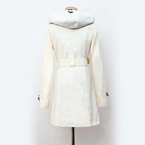 Abrigos de mujer,Culater Chaqueta de abrigo largo con capucha de invierno Blanco