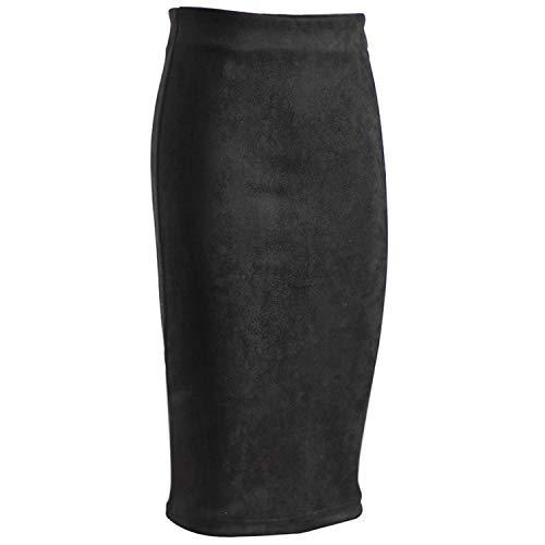 (Women Suede Solid Color Skirt Female Spring Autumn High Waist Length Skirts,Black,XXL)