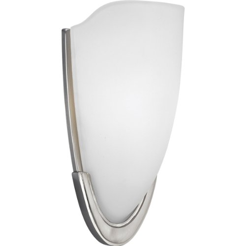 (Progress Lighting P7087-09 1-Light ADA Wall Sconce with Etched Glass Fixture, Brushed Nickel)