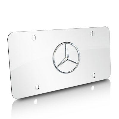Mercedes-Benz Chrome Star Logo on Polished Steel License Plate