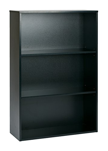 Pro-Line II / OSP Designs Prado 3-Shelf BookCase with 3/4-Inch Shelves and 2 Adjustable Shelves, 48-Inch, Black