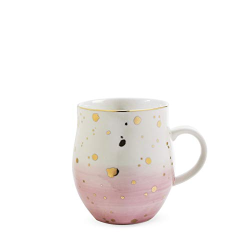 Pinky Up 7761 Brynn Pink Speckle Ceramic Mug Up, One Size, Multi Colored
