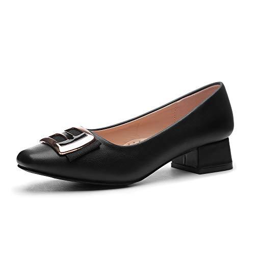 CINAK Women Pumps Low Heel- Square Toe Block Chunky Heels Comfort Wedding Office Dress Shoes
