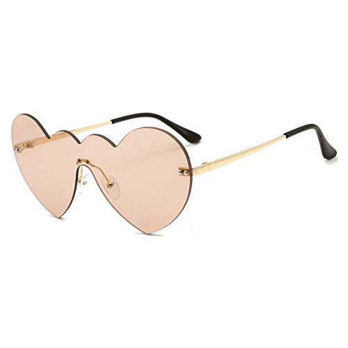 FURUDONGHAI Personality Without Border Cordate Sunglasses Lucid Fashion Glasses UV400 Protection Unisex Gold Frame Especially Suitable for Summer Travel or Outdoor s (Color : ()