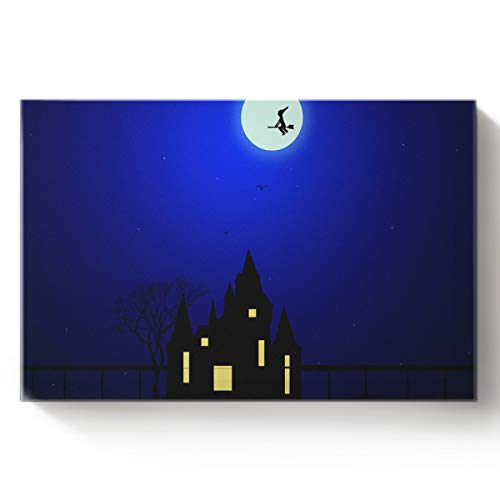 Fandim Fly Creative Art Paintings Canvas Oil Paintings Night Flying Castle Scary Ghost Happy Halloween Moon Wood Stretched Home Decor Ready to Hang -