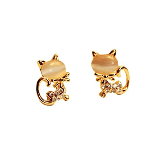 gs, Korean Fashion Cute Cat Stone Rhinestone Women Stud Earrings (Beige) ()