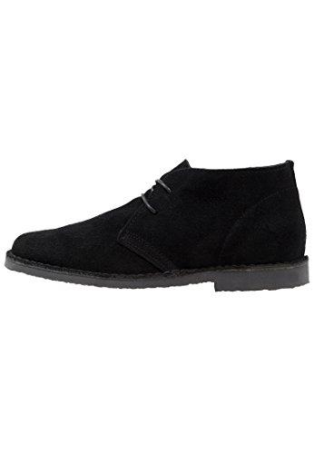 Une Jetée Hommes Chic En Daim Desert Boots En Beige, Noir Ou Gris Clair - Bas Bottes Hautes Chukka Avec Lacets - Chaussures En Cuir Décontractée Pour Les Hommes Noirs