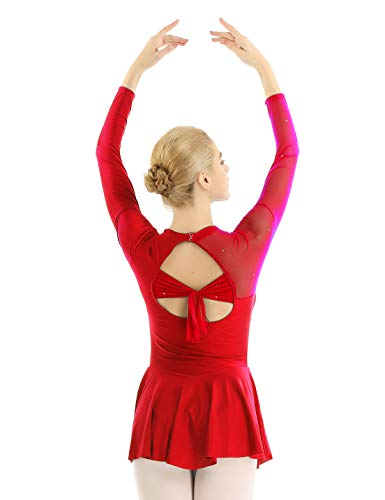 zdhoor Women Long Sleeve Figure Ice Skating Dress Skater Skirt Lyrical Ballet Dance Costume Red Small (Best Female Ice Skater)
