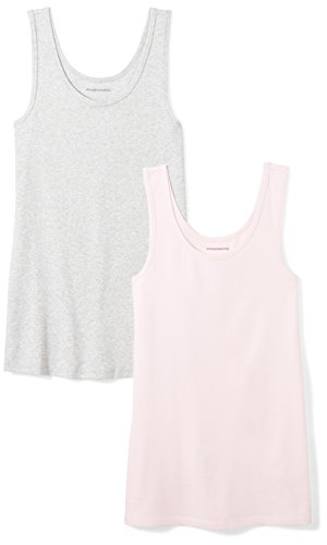 Amazon Essentials Women's 2-Pack Slim-Fit Tank, Light Pink/Light Grey Heather, Large