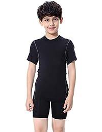 Boys Athletic Base Layer Compression Underwear Shirt & Shorts Set 2 Pcs Top and Bottom