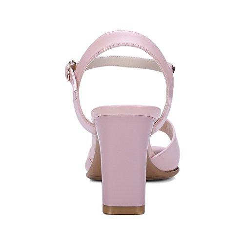 AgooLar Women's Buckle Open Toe High Heels PU Solid Sandals With Metal Pink GKg6AuBo