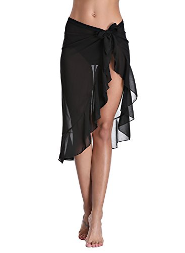 Dailybella Womens Chiffon Beach Sarong Ruffle Cover up Pareo Canga Swimsuit Wrap Swimwear (One Size, Black) (Sarong Cover Up Pareo)