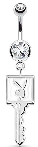 - Belly Button Ring Playboy Bunny Enamel Key 316L Surgical Steel Navel Ring 14g 3/8