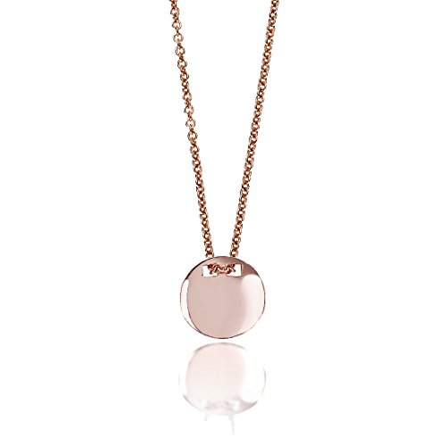 - SEVEN50 Made in Italy Disc Circle Charm Necklace Rose Gold Extremely Durable 9K Gold Real Classic Gift Box