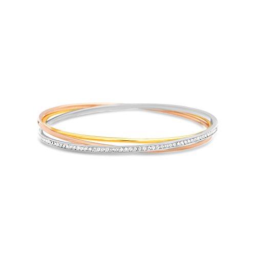 Devin Rose Interlocking Bangle Bracelet for Women Made with Swarovski Crystal in Tri-Color Plated Brass