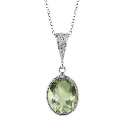 Gem Stone King 5.00 Ct Sterling Silver Green Amethyst 10x14mm Oval Pendant 18inches Chain