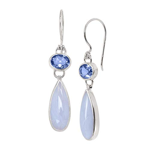 Silpada 'Paradise Found' 13 3/4 ct Natural Blue Lace Agate and Quartz Drop Earrings in Sterling Silver ()