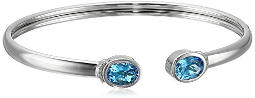 Sterling Silver, Oval Blue Topaz, and Diamond-Accent Bangle Bracelet, 6.5