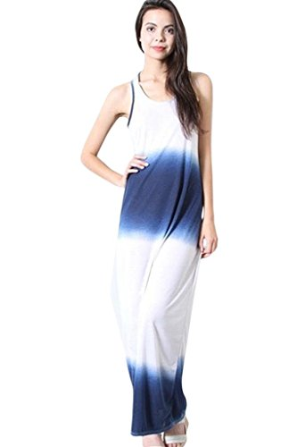 Dip Dye Tank Dress - SurelyMine Womens Dip Dye Tank Maxi Dress Medium Blue