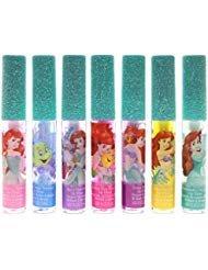 Disney Ariel Kids Washable Party Favor Lip Gloss, 7 Flavors include Cotton Candy, Strawberry, Berry, Bubble Gum, Grape, Lemon and Watermelon