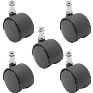 """5 Pack - 50mm Nylon Twin Wheel Chair Casters, Black, with 7/16"""" x 7/8"""" Grip Ring Stem"""
