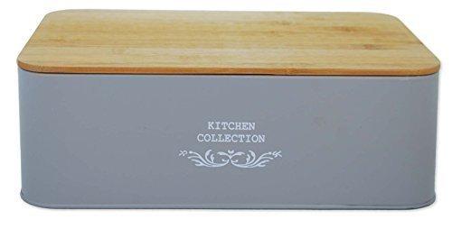 Kitchen Collection Brotkasten Brotbox Brotaufbewahrung Brotbehälter Brot Kasten (Bambus Deckel, Anthrazit)