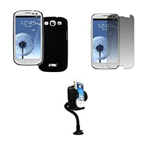 Bloutina EMPIRE Samsung Galaxy S III / S3 Slim Fit Rubberized Case Cover, Black Quicksand + Adjustable Car Dashboard Mount...