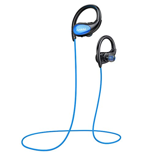Bluetooth Earbuds Wireless Headphones Bluetooth Headset Cordless 3D Stereo Earphones w/Mic Waterproof HD Bass Sound, CVC 8.0 Noise Cancelling, Secure Hook for Sport, Workout, Running, Gym Blue