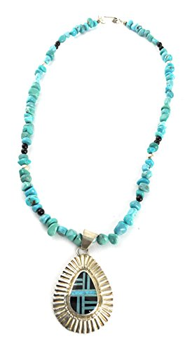 - Masha Sterling Silver Necklace By Sleeping Beauty, Turquoise Nugget Beads, Onyx Pendant, Made in USA - Exclusive Southwestern Handmade Jewelry, Wedding Gift