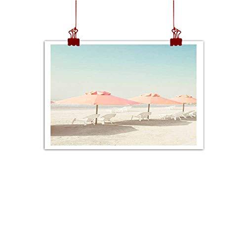 Loruoaine Art Print Vintage Summer Beach with Pink Pastel parasols 48