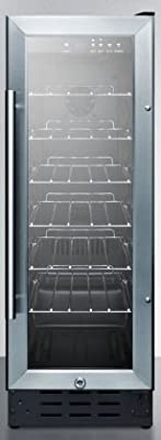"Summit SCR1225 12"" Commercial Beverage Center with 2.2 cu. ft. Capacity 6 Chrome Wire Adjustable Shelves Automatic Defrost Digital Thermostat and Lock in Stainless"