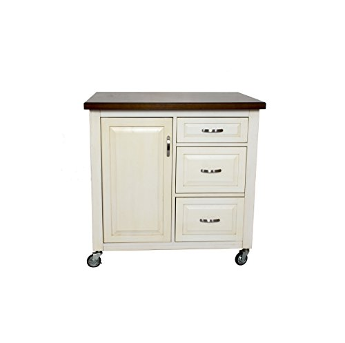 Sunset Trading PK-CRT-04-AW Andrews Kitchen Cart, Distressed Antique White/Chestnut Top/Antique White Base Review