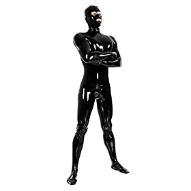 - 318SNoOZNoL - Men's Black Fullbody Latex Rubber Zentai Catsuit Eyes Mouth Open