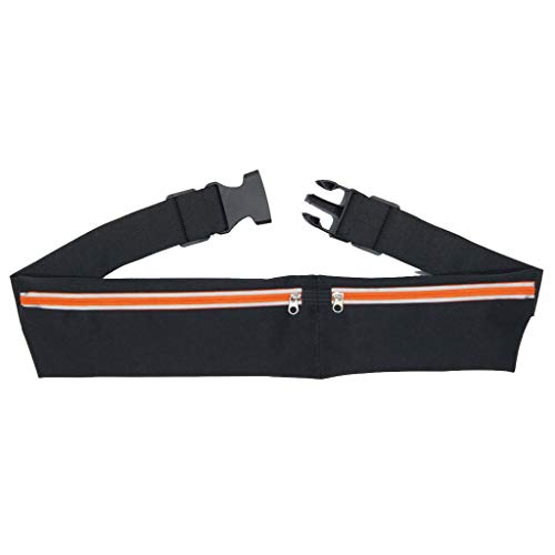 QUICATCH Unisex Waterproof Waist Bag Dual Pocket Running Belt Phone Pouch Sports Travel Fanny Pack Outdoor Nylon Zipper Adjustable Chest Bag (Orange)