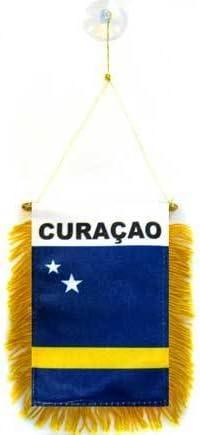 AZ FLAG BANDERIN de CURAZAO 15x10cm con Ventosa - BANDERINA CURAZOLEÑO 10 x 15 cm para Coche: Amazon.es: Jardín
