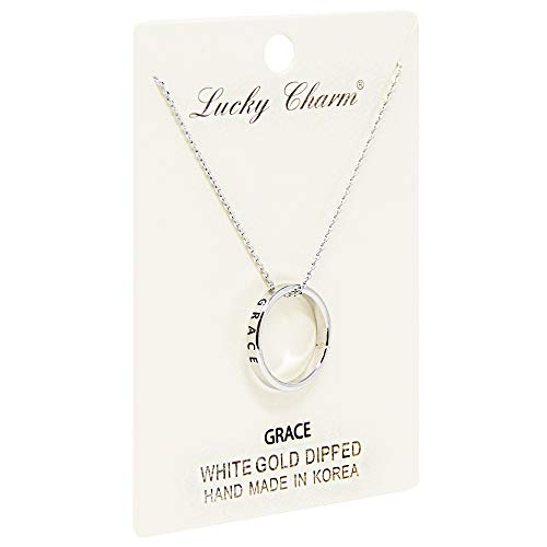 Me Plus Women Inspirational Engraved Ring Pendant Necklace Gold Silver Rosegold (9 Different Phrases) (Grace-Silver) ()