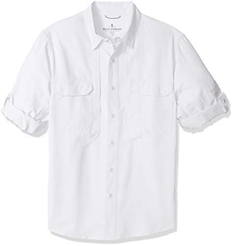 Expedition S/s Shirt - Royal Robbins Men's Expedition Chill Long Sleeve Shirt, Large, White
