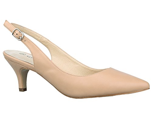 (Greatonu Womens Nude Comfort PU Slip On Pointed Toe Slingback Pumps Court Shoes Size 7.5 US / 38 EU)