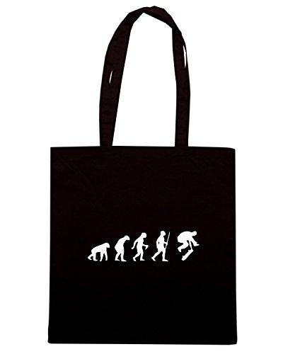 T-Shirtshock - Bolsa para la compra EVO0049 Skating Evolution Humor Maglietta Negro