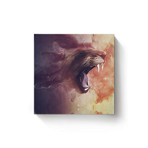Arts Language Canvas Wall Art Square Oil Painting Office Home Decor,3D Animal Lion is Opening Mouth Artworks for Christmas,Stretched by Wooden Frame,Ready to Hang,32 x 32 Inch
