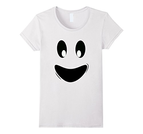 Womens Ghost Face Costume (Womens Fun Ghoul Face Ghost Tee Shirt Costume for Kids and Adults Small White)