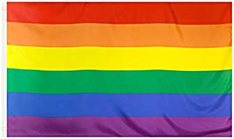 Rainbow Flag Gay Pride - Large Indoor Outdoor LGBT - Festival Diversity Celebration 5ft x 3ft - by TRIXES
